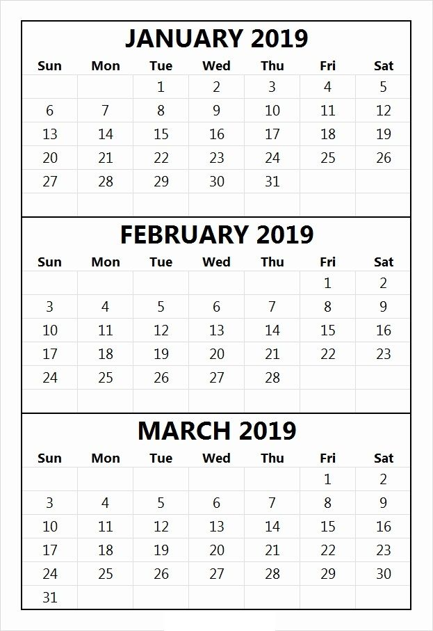 January February March Calendar 2019 100 January And February