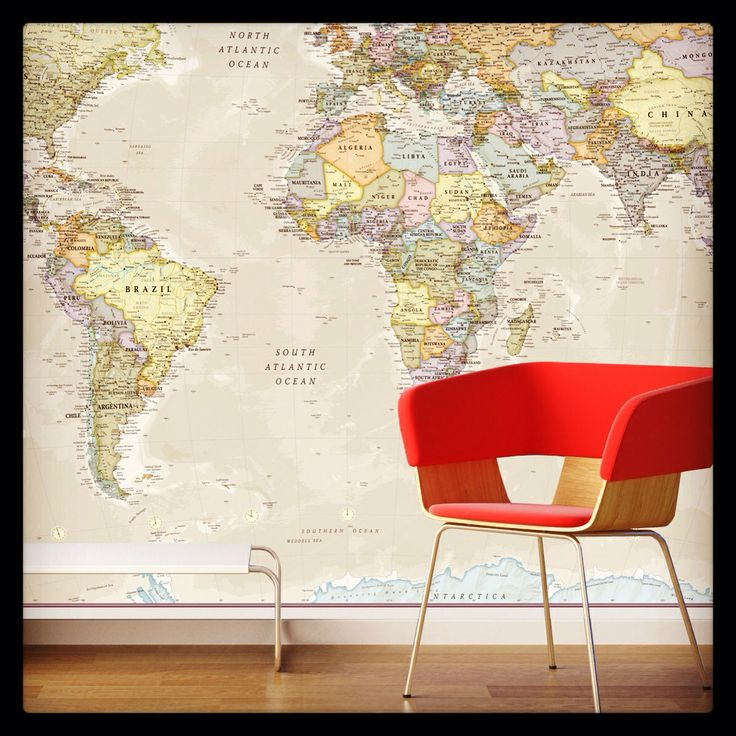 17 best images about map wallpaper on pinterest another for Classic world map wall mural