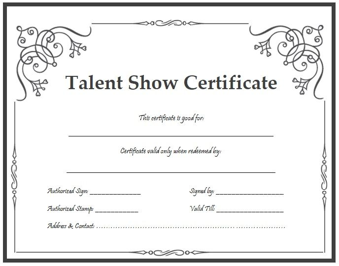 13+ Talent Show Certificate Templates | Free Printable ...