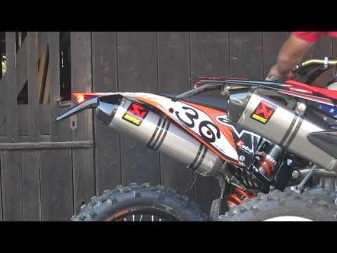 V2 vs. single Akrapovic sound test: Aprilia RXV 450 and KTM 450 EXC - YouTube