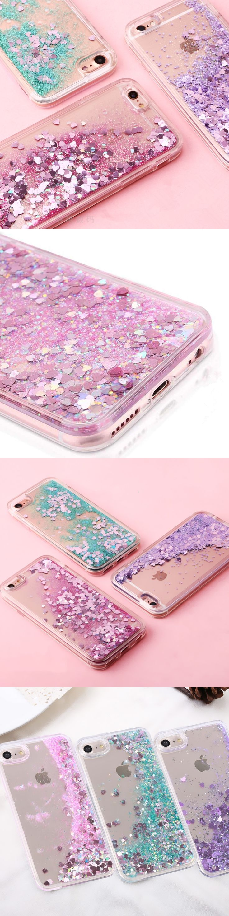 Dynamic Colorful Sequins Liquid Quicksand Glitter Stars meteor Sand Mobile Phone Cases For iphone 7 7Plus 6 6s Cover Capa Coque