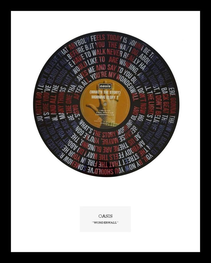 """Britpop classic """"Wonderwall"""" by Oasis. Lyric artwork on original """"What's the Story Morning Glory"""" LP. Limited Numbers available.  <strong><span style=""""color: #ff6600;"""">IN STOCK</span></strong>"""