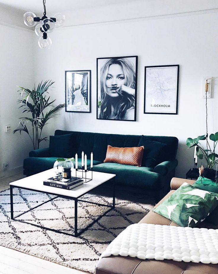 15 Cheap Home Decor Ideas | Velvet couch + leather throw pillow and fashion wall art