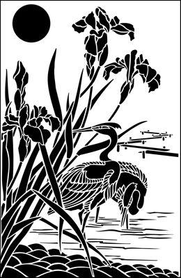 Egret & Iris Panel stencil from The Stencil Library JAPAN range. Buy stencils online. Stencil code JA122.