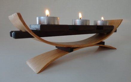 BEND WOOD VOTIVE STAND