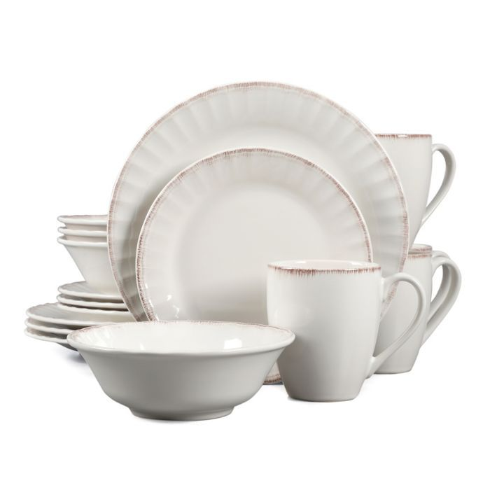 Country Loft Carly 16 Piece Dinnerware Set In White Farmhouse