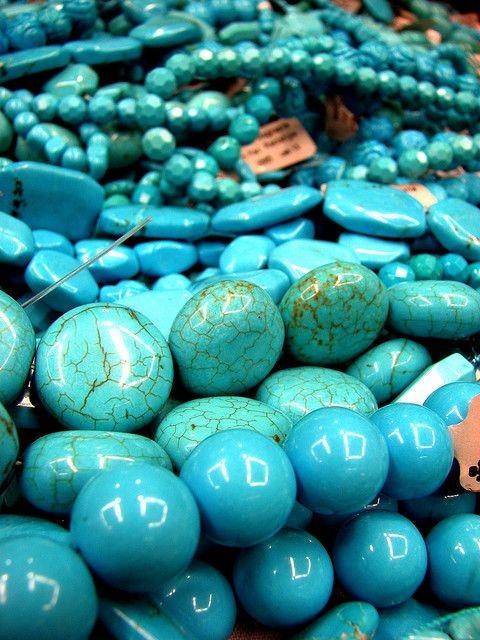 pretty turquoise colored magnesite beads - photo by Jonathon Colman