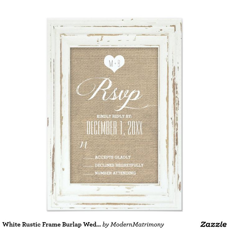White Rustic Frame Burlap Wedding RSVP Card