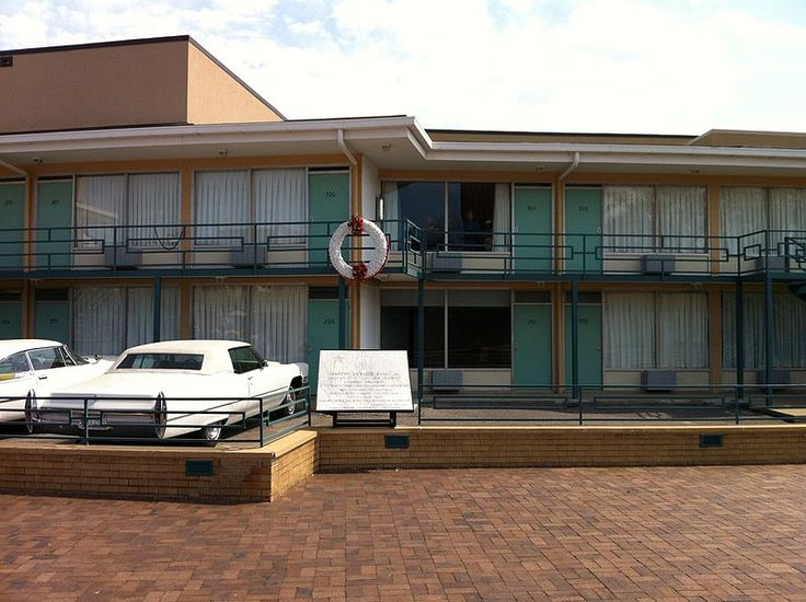 The Lorraine Motel is now the site of the National Civil Rights Museum. The wreath marks Dr. King's approximate place at the time of the shooting.