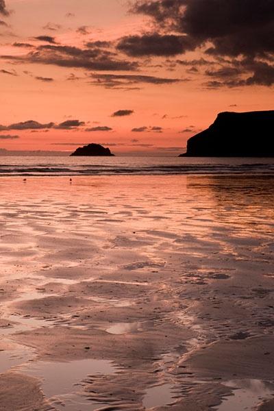 North Shore Gallery: Sunset Polzeath Beach - Polzeath, Cornwall