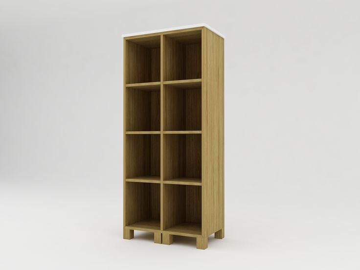 Minimalist modern furniture - Rak Buku Kayu Minimalis 8 pintu - White Elegant Teak