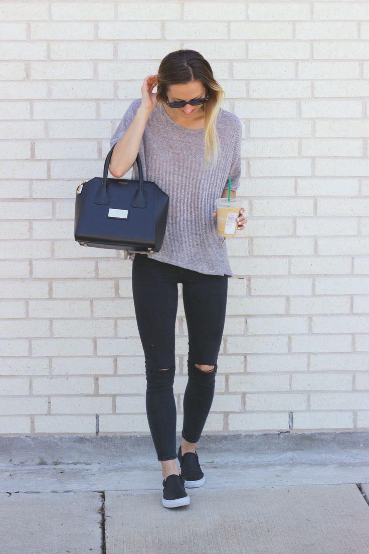 Weekend look with slip-on Vans sneakers / LivvyLand | Best Beauty u0026 Style Tips | Pinterest ...