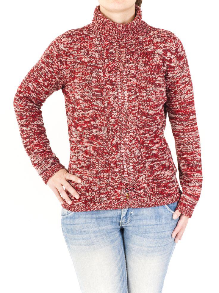 Jersey de punto para mujer con cuello cisne y bonito estampado ideal para combinar con tus tejanos preferidos. Práctico e informal, para el día a día.