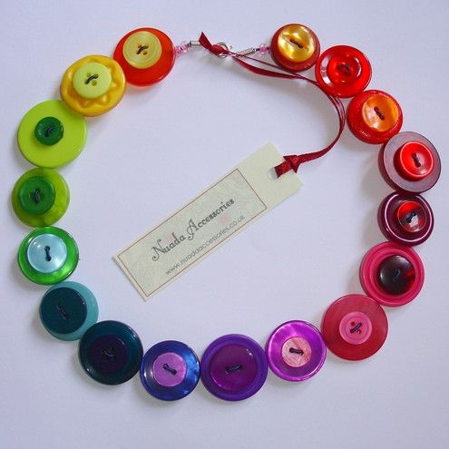 Gorgeous button necklace, with all the colors of the rainbow!  Designed by Nuadaaccessories