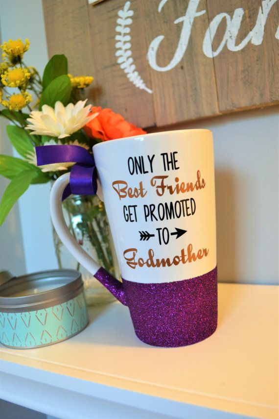 Need a way to ask your best friend to be the Godmother of your child?? Here ya go!  Or simply need a cute gift for the godmother in your life?? CUSTOMIZE this mug from thr saying BEST FRIENDS to say BEST SISTER.. BEST AUNT.. etc  This gorgeous glitter dipped 16oz tall ceramic coffee/latte mug is perfect to get you going for the day!  All designs are created with permanent sign vinyl. HAND WASH ONLY  ** To ensure the life of your coffee mug design and glitter bottom- do not scrub, soak or…