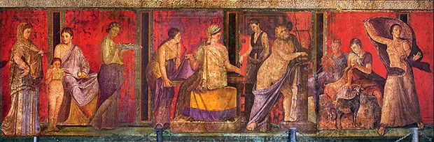 Fresco from the Sala di Grande Dipinto, Scenes in the Villa de Misteri (Pompeii).