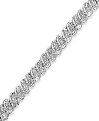 Diamond S-Link Bracelet in 10k White or Yellow Gold (1/2 ct. t.w.) - Diamonds - Jewelry & Watches - Macy's