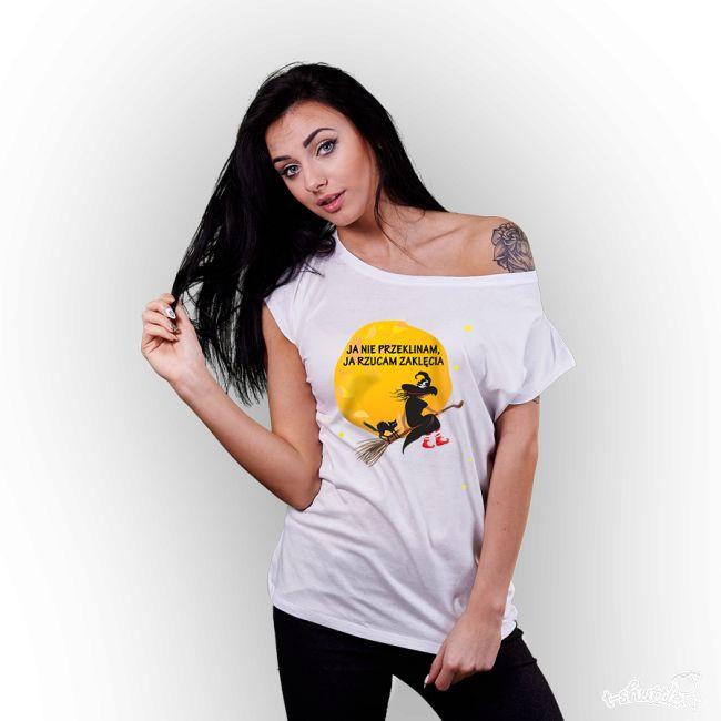 T-SHIRT DAMSKI Z NADRUKIEM JA NIE PRZEKLINAM, JA RZUCAM ZAKLĘCIA #koszulka #tshirt #zaklęcia #czary #tshirt #znadrukiem