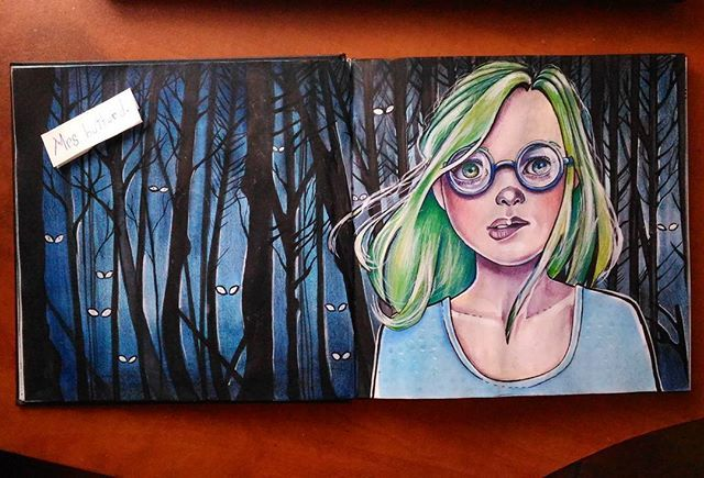 LOST #draw #drawings #drawingoftheday #drawing #illustration #illustrationart #arte #art #sketch #sketchbook #paint #painting #desenho #artista #green #greenhair #fantasy #woods #darkwoods #girl #vsco #artist #dreamer #book #watercolorpainting #watercolor #glasses #lost #dark #illustratorsoninstagram