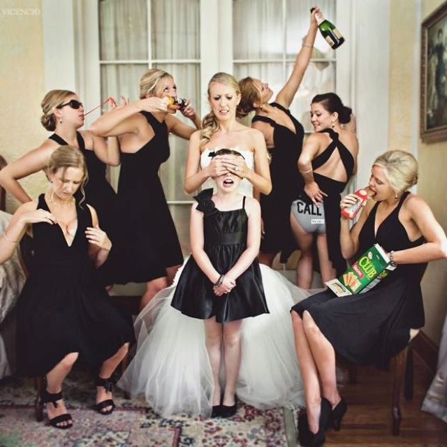 """don't corrupt the flower girl"" pic. also get one with the ring bearer and the groomsmen/groom! So funny!"