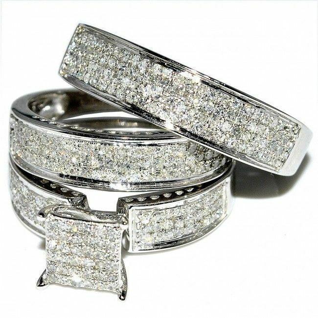 14k White Gold Over Round Diamond Wedding Ring His Her Band Trio