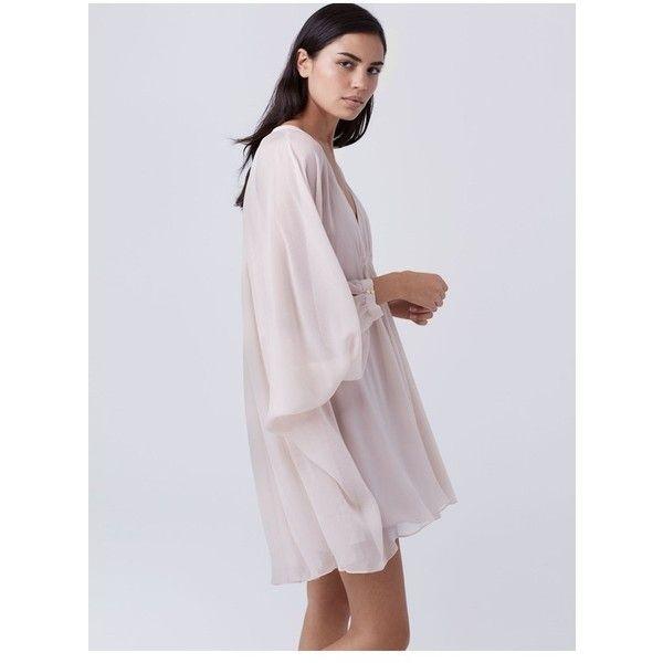 Diane von Furstenberg Fleurette Silk Chiffon Kaftan Dress ($221) ❤ liked on Polyvore featuring dresses, nude, short, caftan dresses, short kaftan, v neck dress, short dresses and kaftan dress