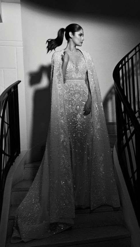 Glamorous jewel embellished wedding dress with fabulous cape; Featured Dress: Zuhair Murad 2017