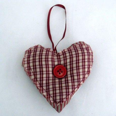 Dekorační textilní srdíčko - nádherně kombinované kostičky s proužky. 10 cm 27 Kč