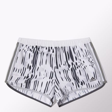 White and black short with cool graphic print, by Adidas.