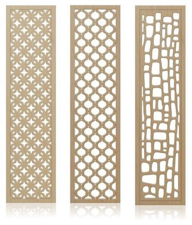 Redi-Screens™ by Crestview Doors are versatile wood screens that can be used in a variety of ways to separate space around the home. Featuring modern patterns inspired by vintage textile designs, Redi-Screens™ are made from an unfinished, stain-grade Maple panel surrounded by an exquisite Maple hardwood frame.