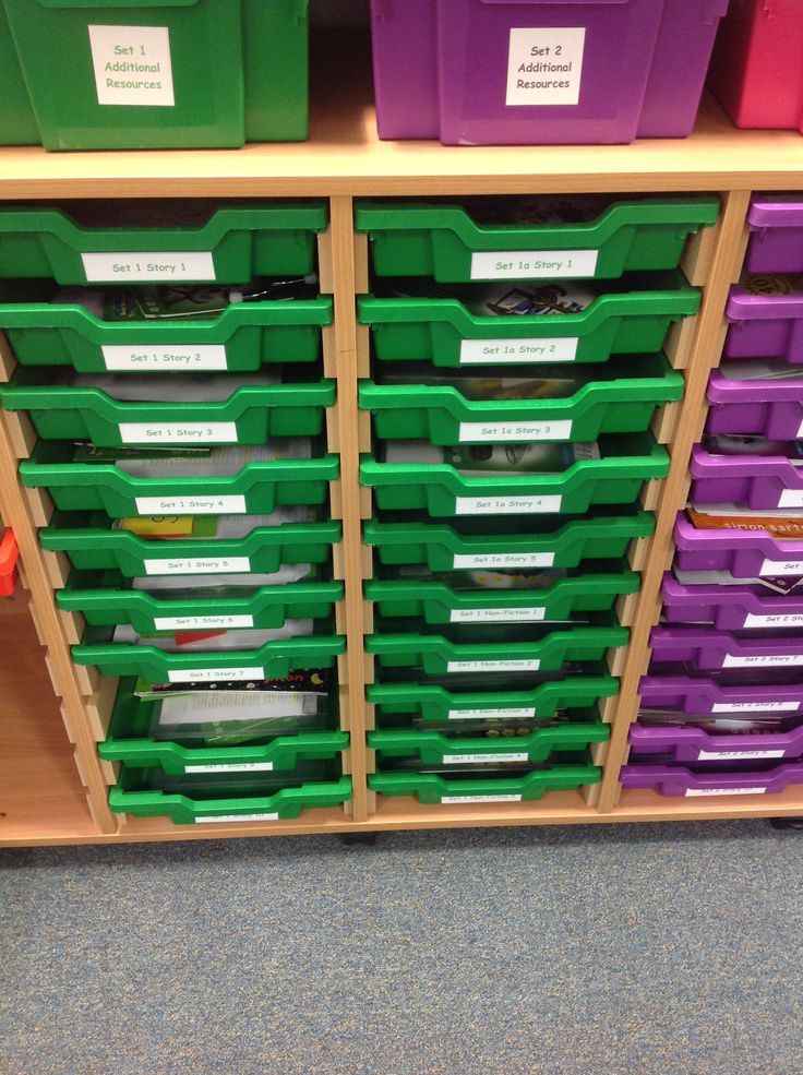 RWI storage - one tray for every book containing sets of books, linked texts, previous planning and any resources staff have made.