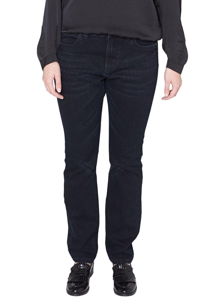 """Jeans Bluejeans mit Sitzfalten-Effekten in der Waschung. Beliebte 5-Pocket-Form mit großem Münztäschchen. Figurbetonte Passform """"Kurvig"""" mit leicht vertieftem Bund und extra schmalem Bein für eine ausgeprägte Hüfte, einen runden Po und stärkere Oberschenkel. Weiches Denim aus Baumwollmix. Ein zeitloser Klassiker, der mit seinen Falten-Effekten Bewegung in Ihren Look bringt..  Materialzusammense..."""