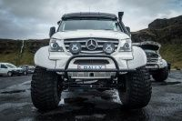Der Mercedes Sprinter von Páll Halldór Halldórsson ist ein Gelände-Fahrzeug der Extraklasse. Mit riesigen Reifen, neuen Achsen und fetten Kotflügeln.