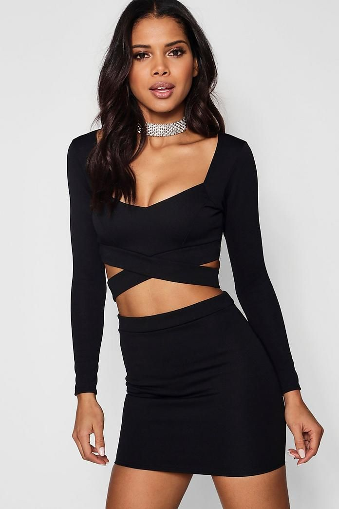 c9c69fa2b3 Wrap Top & Mini Skirt Co-Ord Set in 2019 | clothes | Skirt co ord ...