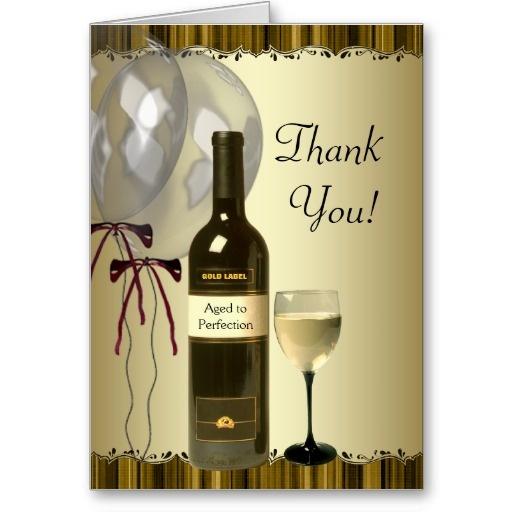 Black Gold Wine Bottle Glass Thank You Cards Zazzle Com