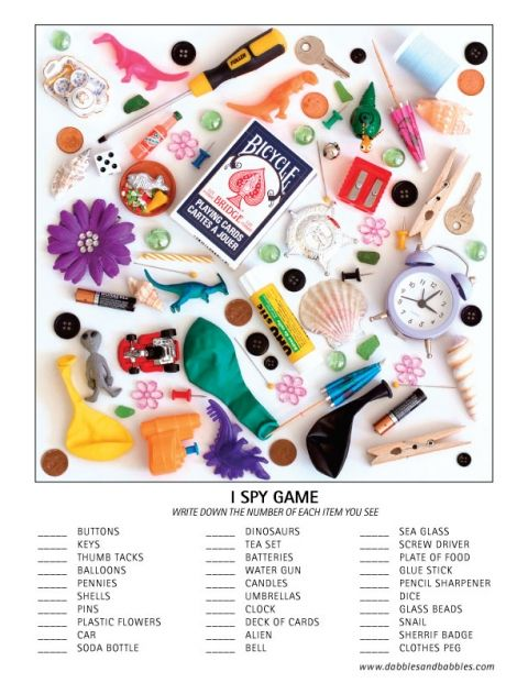 I Spy activity page for kids