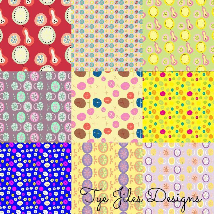 Fun, colorful patterns by Tye Jiles #surfacepatterndesign #surfacedesign #patterns #patterndesign #fabric #art #artlicensing #fun #patterns #colorful #bright #stationery #fruitpattern