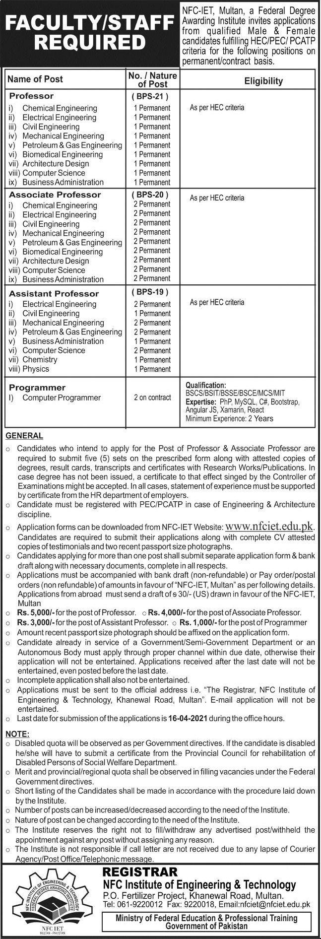 Institute Of Engineering Technology Nfc Jobs In Multan In 2021 Technology Job Engineering Technology Petroleum Engineering