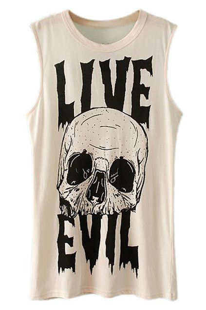 ROMWE Live Evil & Skull Print Sleeveless Vest   Tank top is the word you're looking for...