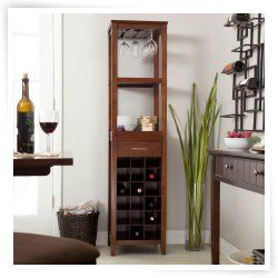18 Bottle Walnut Wine Tower and Glass Holder