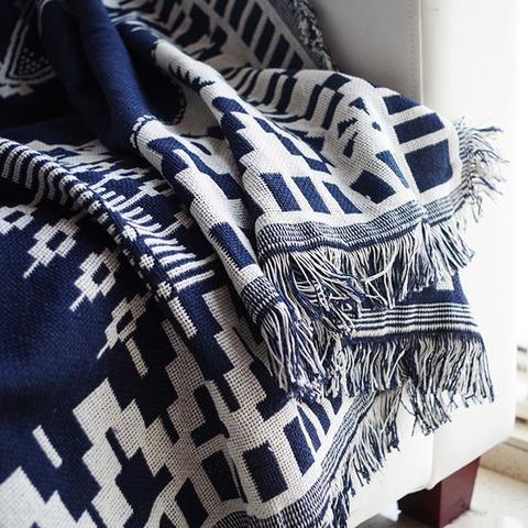 geometric throw, navy and white, spoon and the sparrow, double sided blanket, winter warmer