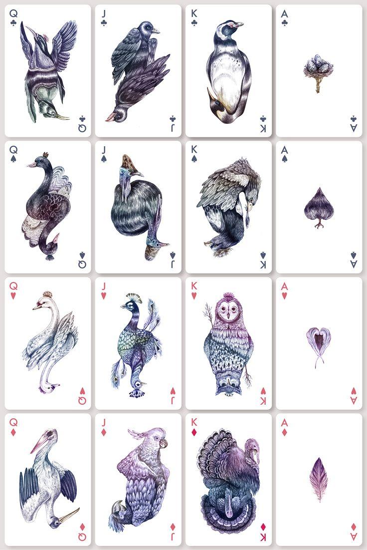 AVES: Playing Cards Inspired by Karina Eibatova's Bird Illustrations