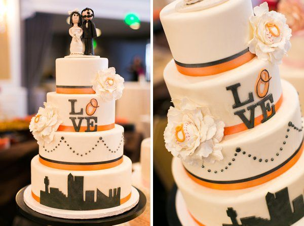 Orioles Themed Wedding cake ||  tPoz Photography  ||  Charm City Wed  ||  www.charmcitywed.com