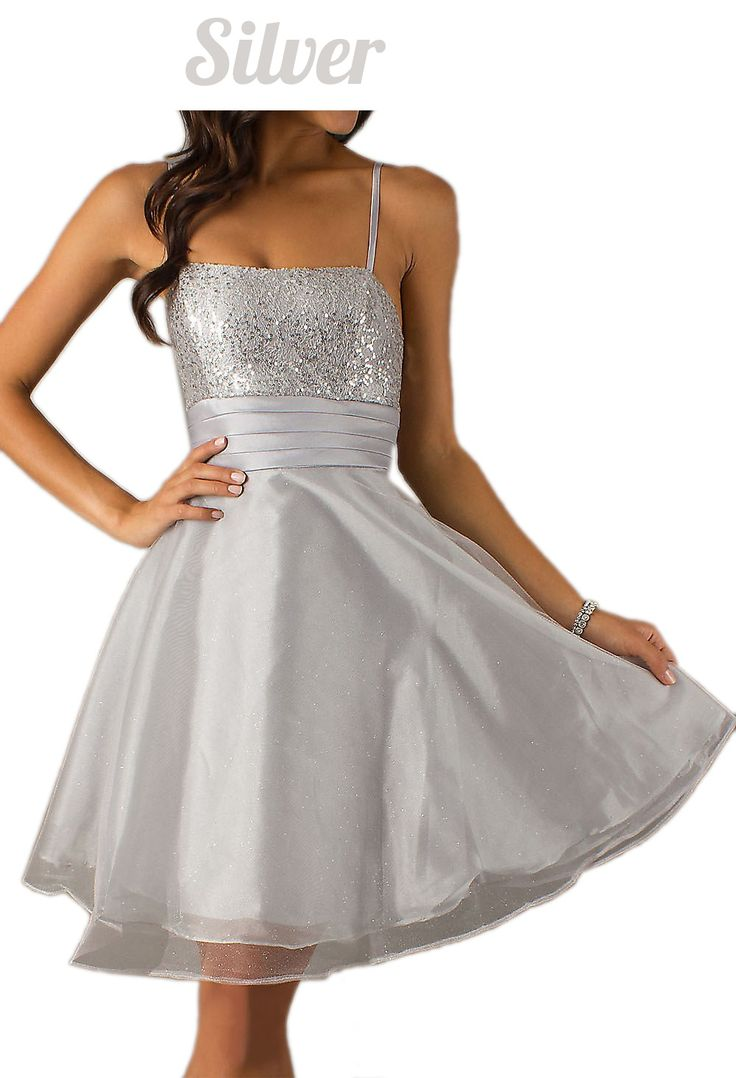 Short Silver Show Choir Dress Spaghetti Strap A Line Skirt Glitter (5 Colors Available)