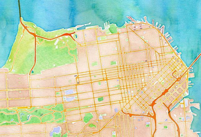 Web app that renders digital maps as watercolors