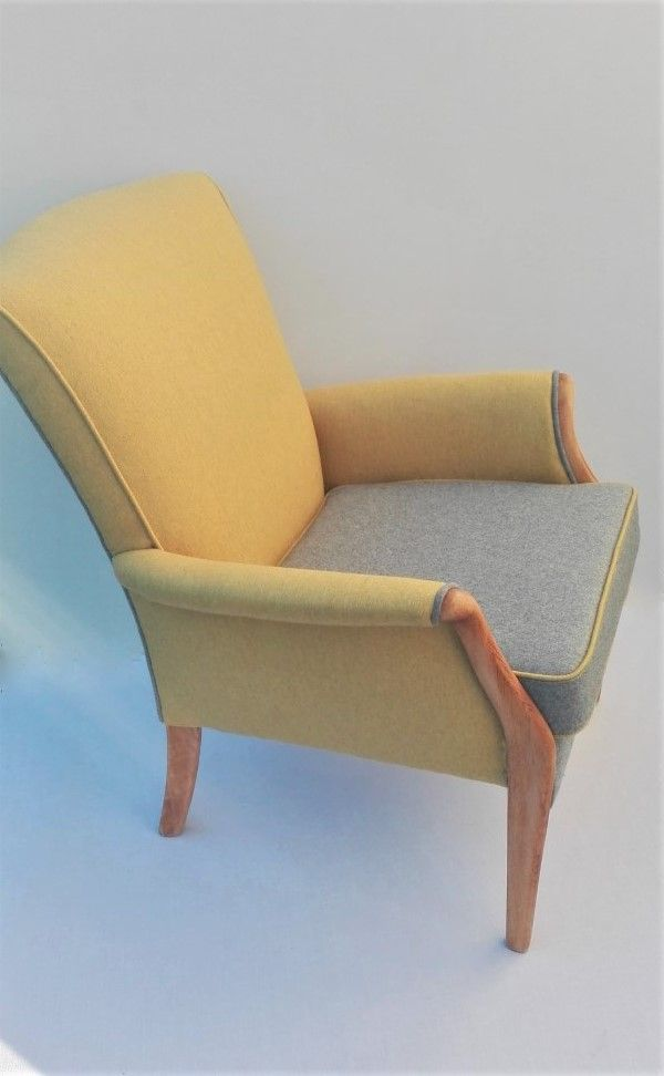 Now Sold Lovely Parker Knoll Chair Newly Upholstered With New Foam And New Linwood Wool Fabric In Yellow An Knoll Chairs Parker Knoll Chair Reupholster Chair