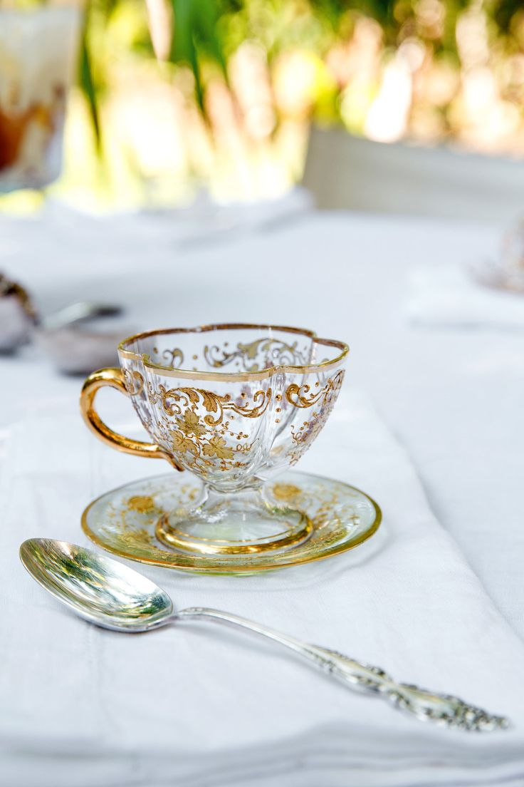 Harbour Island, Bahamas. A 19th-century Bohemian crystal cup and saucer from Moser. Photo: Tony Cenicola/The New York Times