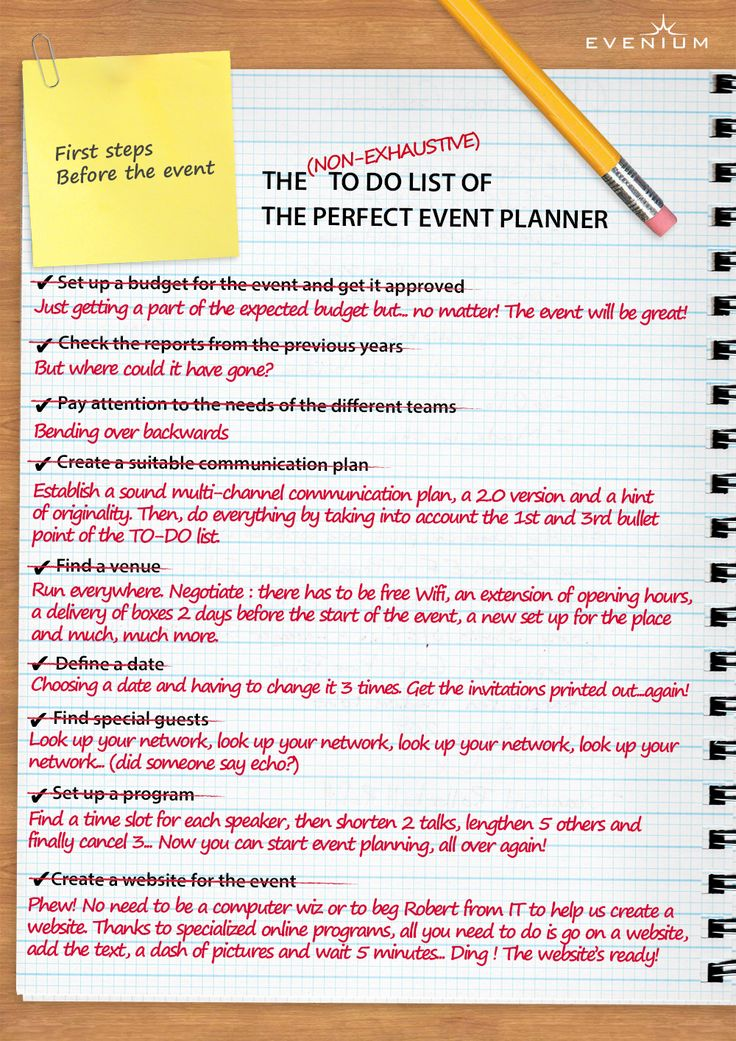 Discover the TO DO list of the perfect event planner :-)