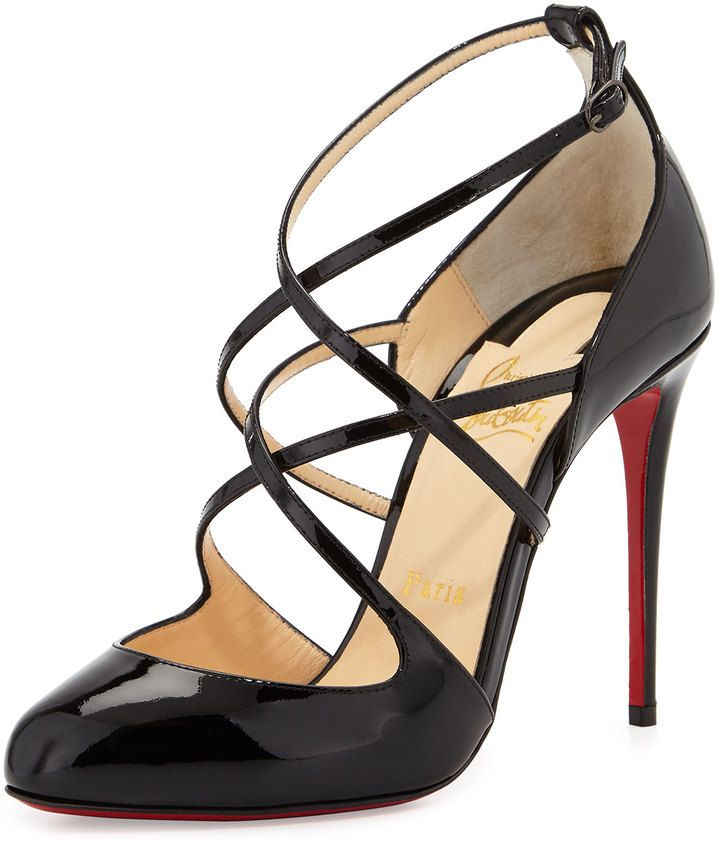 Christian Louboutin Soustelissimo Strappy Red Sole Pump, Black