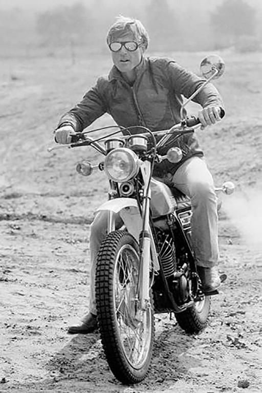 Robert Redford Motorcycle 3 | From a unique collection of black and white photography at https://www.1stdibs.com/art/photography/black-white-photography/